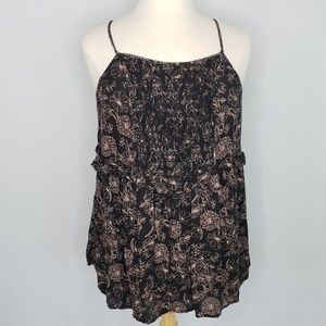 Torrid black and pink floral tank top women's 1X
